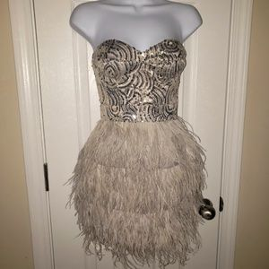 Bebe Isis Sequin Feather Mini Dress Nude XS